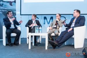 Diskussion: Data Mining oder Storytelling? Was zählt wirklich für erfolgreiches B2B-Content-Marketing? Luis Ramos, Stefan Huegel, Christoph Zeidler und Claus Hammer v.l